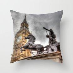 Big Ben and the Boadicea Statue London Throw Pillow