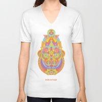 chakra V-neck T-shirts featuring Sahasrara Chakra by anabra