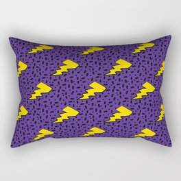 Yellow and Purple 90's Retro Lightning Bolts Pattern Rectangular Pillow