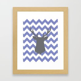 Purple chevron deer Framed Art Print
