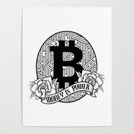 Bitcoin & Cryptocurrency Money Is Power Poster