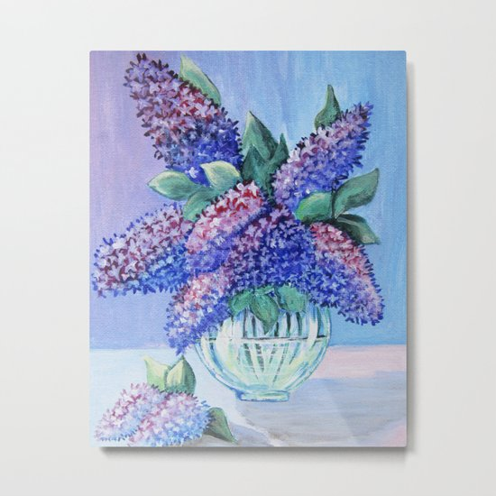 bouquet of lilac in a glass vase Metal Print