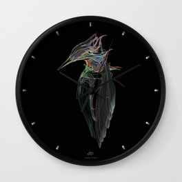 Kingfisher 1d. Color lines on black background-(Red eyes series) Wall Clock