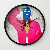 suit Wall Clocks featuring Suit Salute by Alec Goss