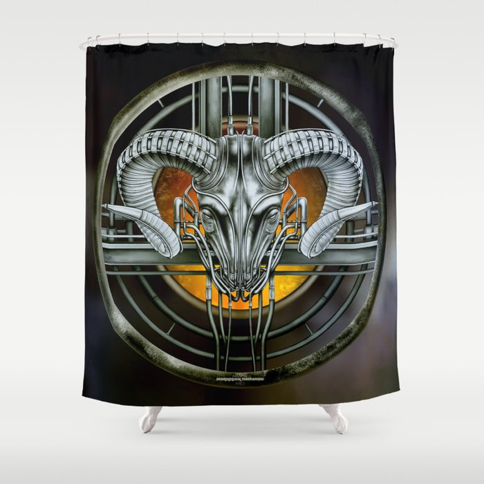 """Astrological Mechanism - Aries"" Shower Curtain"