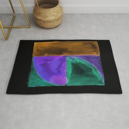 180818 Inverted Geometrical Watercolour 1| Colorful Abstract | Modern Watercolor Art Rug