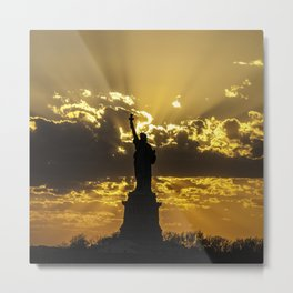 Statue of Liberty sunset in New York Harbor Metal Print