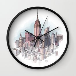 New York cityscape - Architectural illustration Wall Clock