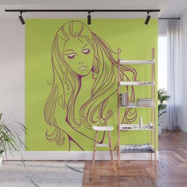 Psychedelic Lady Dream In Green Wall Mural