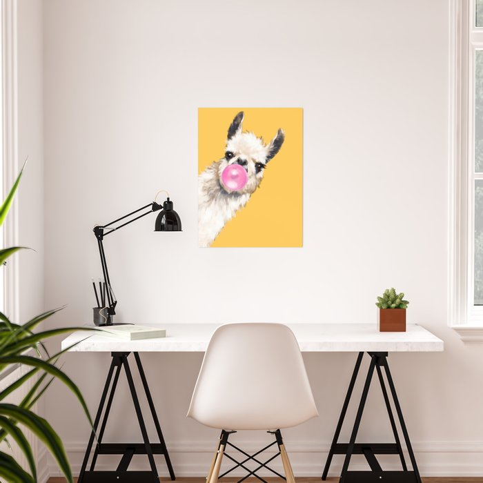 Bubble Gum Sneaky Llama in Yellow Poster