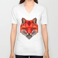 low poly V-neck T-shirts featuring Low poly Fox by exya