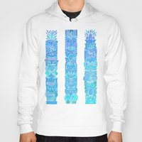 tiki Hoodies featuring Tiki Totems – Turquoise Palette by Cat Coquillette