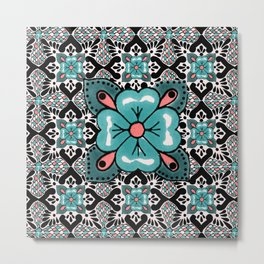 talavera mexican tile in dark pink Metal Print