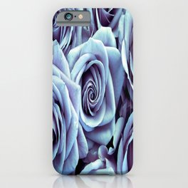 Ice Blue Periwinkle Roses / Flowers iPhone Case