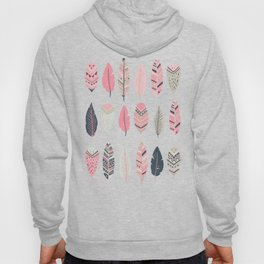 Coral Pink and Navy Boho Tribal Feathers Hoody