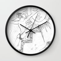 sun and moon Wall Clocks featuring SUN & MOON by MTHARU