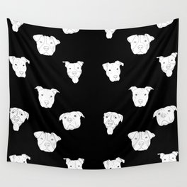 Black pit bull love Wall Tapestry