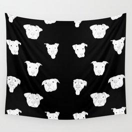 Black pit bull love Wall Tapestry