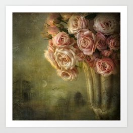 moonlight & roses Art Print