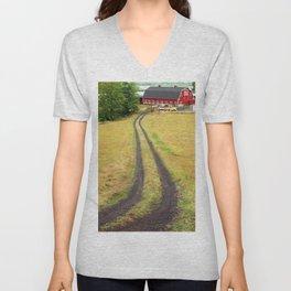 Red Barn Dirt Road Unisex V-Neck