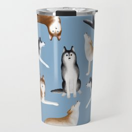 Husky Pattern (Blue Gray Background) Travel Mug