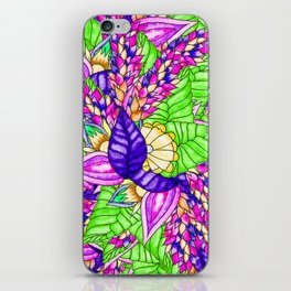 Bright purple green floral pattern waercolor illustration iPhone Skin