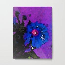 Cobalt Blue Flower dissolves into a Purple Floor Metal Print