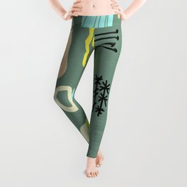 Mid Century Mod Digital Bark cloth Leggings