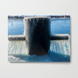 Frozen Mooring Cleat on the Dock, Dunkirk Pier Metal Print
