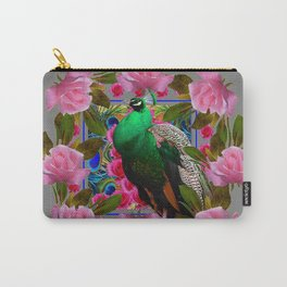 GREY COLOR PINK ROSES &  GREEN PEACOCK ART Carry-All Pouch