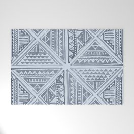 Simply Tribal Tile in Indigo Blue on Sky Blue Welcome Mat