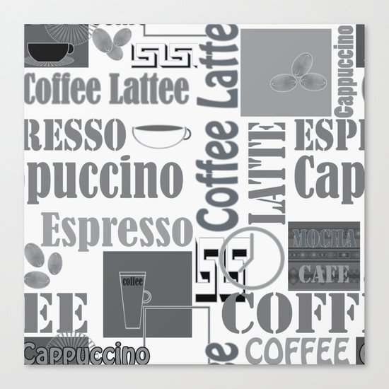 """Black and white pattern. """"Favourite coffee """" Canvas Print"""