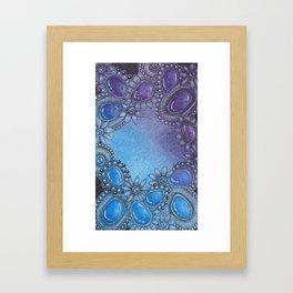 Zentangle Inspired Art (ZIA) Zen gems in blue and purple Framed Art Print
