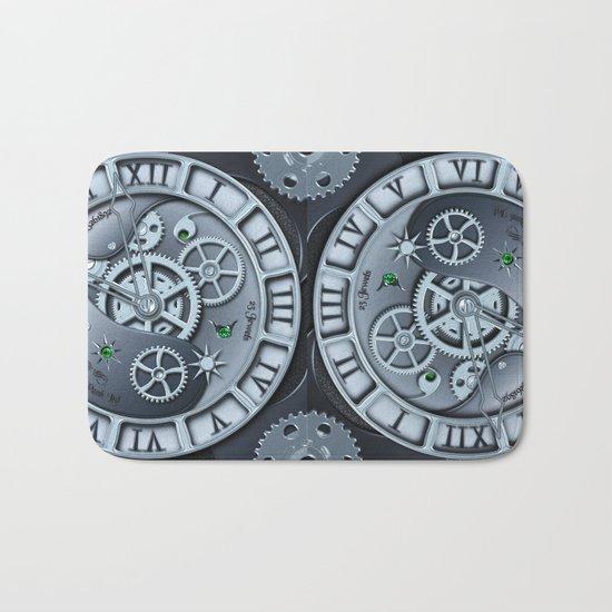 Steampunk clock silver Bath Mat