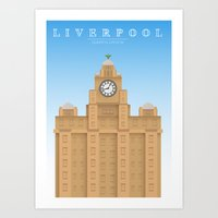 liverpool Art Prints featuring Liverpool by East Atlantic Design