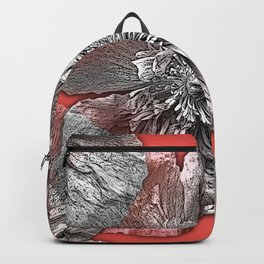 Greyscale transparent poppies on orange-pink-red background Backpack