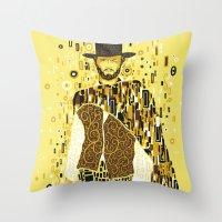 klimt Throw Pillows featuring Klimt Eastwood by Frederick Hoffman