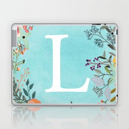 Personalized Monogram Initial Letter L Blue Watercolor Flower Wreath Artwork Laptop & iPad Skin