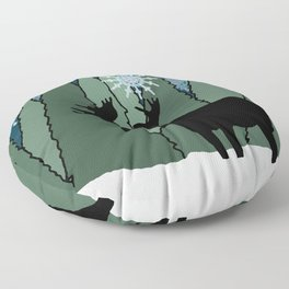 Moose in the Snowy Forest Floor Pillow