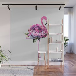 Flower Flamingo Wall Mural