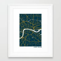 london map Framed Art Prints featuring London Map by Studio Tesouro