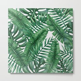 Palm Leaf Tropical Pattern Metal Print