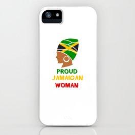 Proud Jamaican Woman Jamaica Flag Jamaican Reggae Soccer iPhone Case