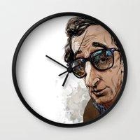 woody allen Wall Clocks featuring Woody Allen by Mitt Roshin
