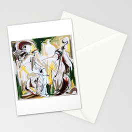 Expressive Musicians Playing Cello Flute Accordion Saxophone drawing Stationery Cards