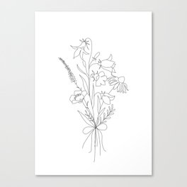 Small Wildflowers Minimalist Line Art Canvas Print