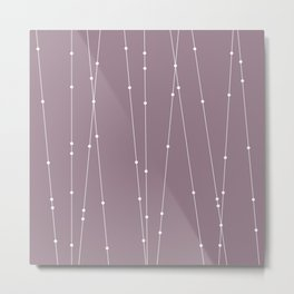 Contemporary Intersecting Vertical Lines in Musk Mauve Metal Print
