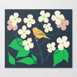 Yellow Warbler + Dogwood Canvas Print