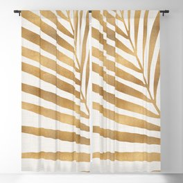 Metallic Gold Palm Leaf Blackout Curtain