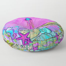Pink Sparkly Sea Floor Pillow